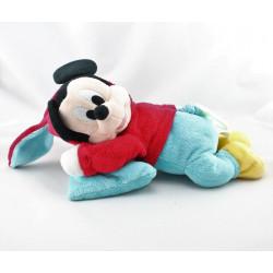 Doudou musical Mickey déguisé en lapin rouge bleu coussin DISNEY NICOTOY