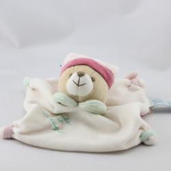 Doudou et compagnie plat ours blanc rose vert