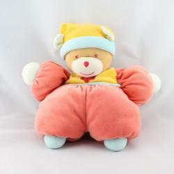 Doudou ours rouge jaune bleu fleur NOUNOURS