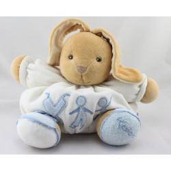 Doudou patapouf lapin blanc bleu enfant bonhomme KALOO