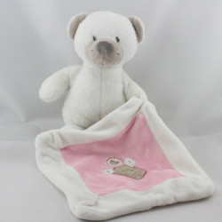 Doudou ours blanc avec mouchoir rose NICOTOY