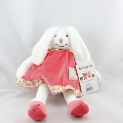 Doudou lapin blanc rose fleurs BABYPLAY MANIS ET PAPAS