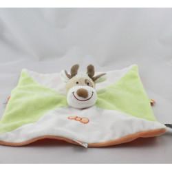 Doudou plat vache girafe blanc vert orange INFLUXNFLUX