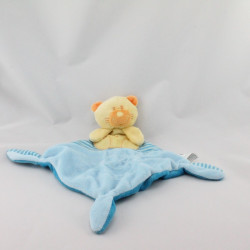 Doudou plat chat ours jaune orange bleu VETIR