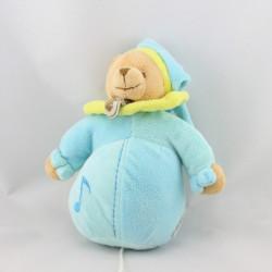 Doudou musical ours bleu jaune BABY NAT