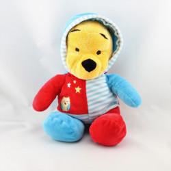 Doudou winnie l'ourson pyjama bleu rouge étoiles  DISNEY NICOTOY 30 cm