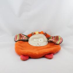 Doudou plat rond lapin chien orange marron rouge LA P'TITE VIVIE