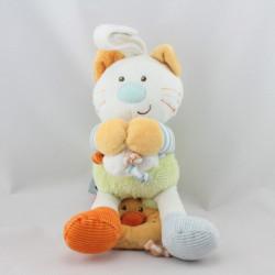 Doudou musical chat blanc vert bleu orange oiseau BEBEREVE