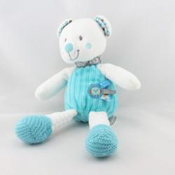 Doudou ours blanc bleu gris oiseau NICOTOY