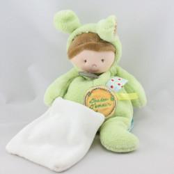 Doudou poupée déguisé souris verte capuche mouchoir BABY NAT
