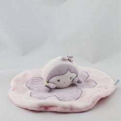 Doudou plat poupée rose mauve fleur SUCRE D'ORGE