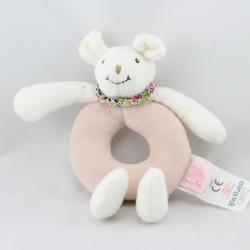 Doudou hochet souris blanche rose fleurs MOULIN ROTY