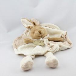 Doudou et compagnie bio plat lapin blanc marron fleur NEUF