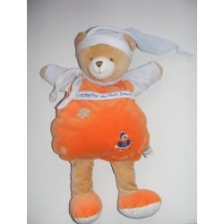 Doudou plat orange ours firmin neige DOUDOU ET COMPAGNIE