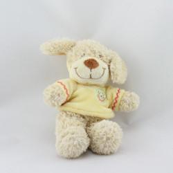 Doudou chien sweat capuche jaune NICOTOY 30 cm