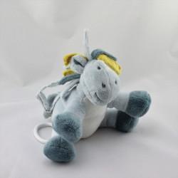 Doudou musical ane cheval bleu jaune étoile Victor et Lucien NOUKIE'S