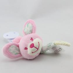 Attache tétine doudou lapin rose fleurs vertes coeur TEX