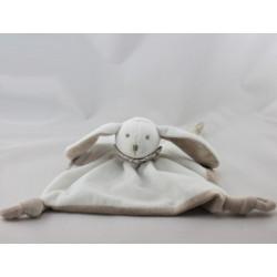Doudou plat lapin blanc beige col rayé