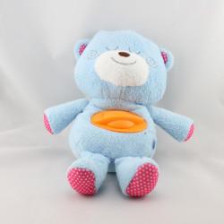 Doudou peluche ours bleu rose pois B KIDS