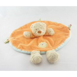 Doudou plat ours sweat capuche orange bleu NICOTOY