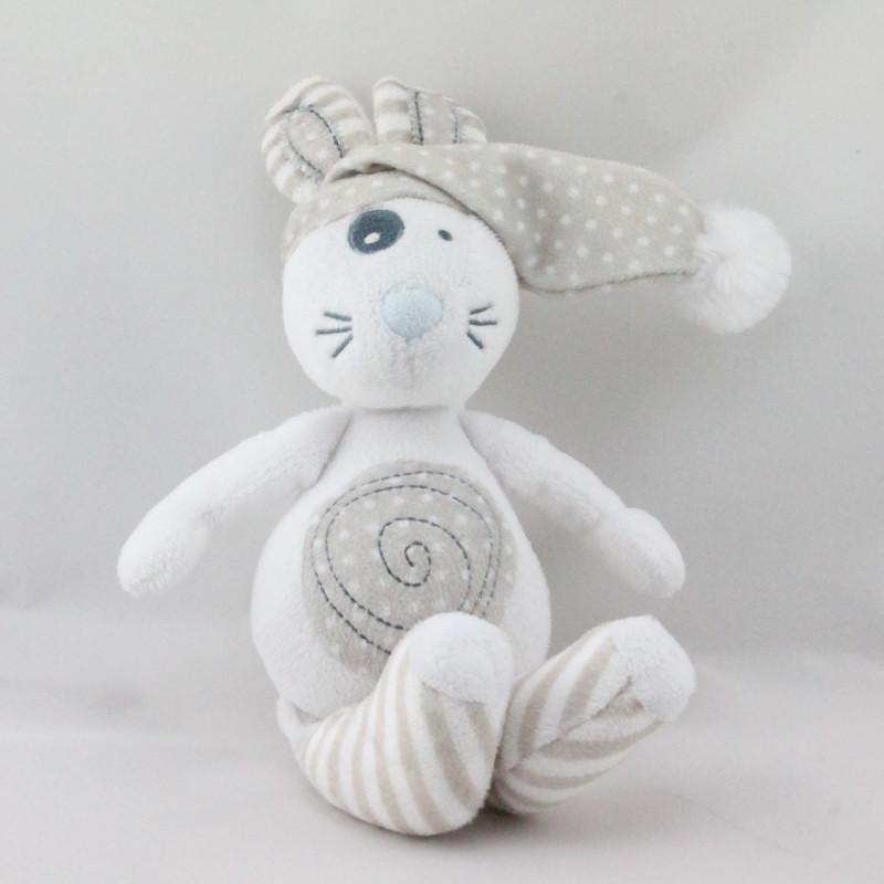 Doudou lapin blanc beige rayé pois TAPE A L'OEIL