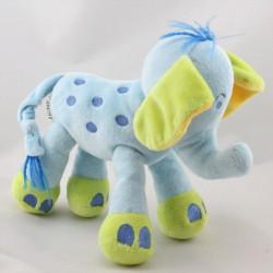 Doudou éléphant bleu vert NICOTOY