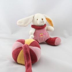 Doudou musical lapin balle rose bordeaux blanc jaune BABY NAT