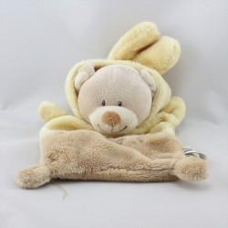 Doudou plat ours déguisé en lapin beige jaune GRAIN DE BLE