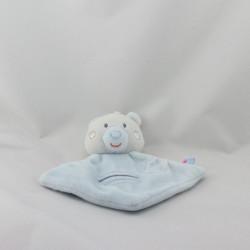 Doudou plat ours blanc bleu SUCRE D'ORGE