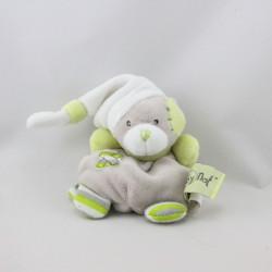 Doudou attache tétine ours gris vert blanc BABY NAT