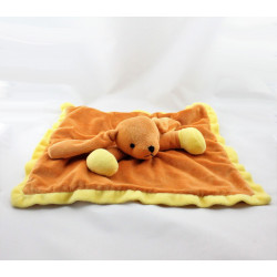 Doudou plat chien lapin orange jaune