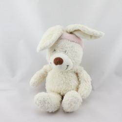 Doudou lapin blanc bandeau rose TEX BABY