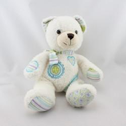 Doudou  ours blanc bleu vert rayé trèfle coeur HISTOIRE D'OURS