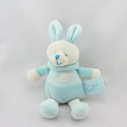 Doudou attache tétine musical Lapin bleu blanc ballon Baby nat