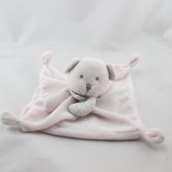 Doudou plat ours rose foulard étoiles coeur NICOTOY