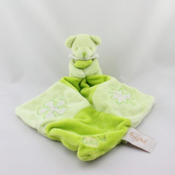 Doudou Ours vert avec mouchoir vert fleur feuille Baby Nat