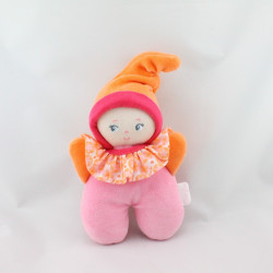Doudou hochet lutin poupée rose orange rouge COROLLE