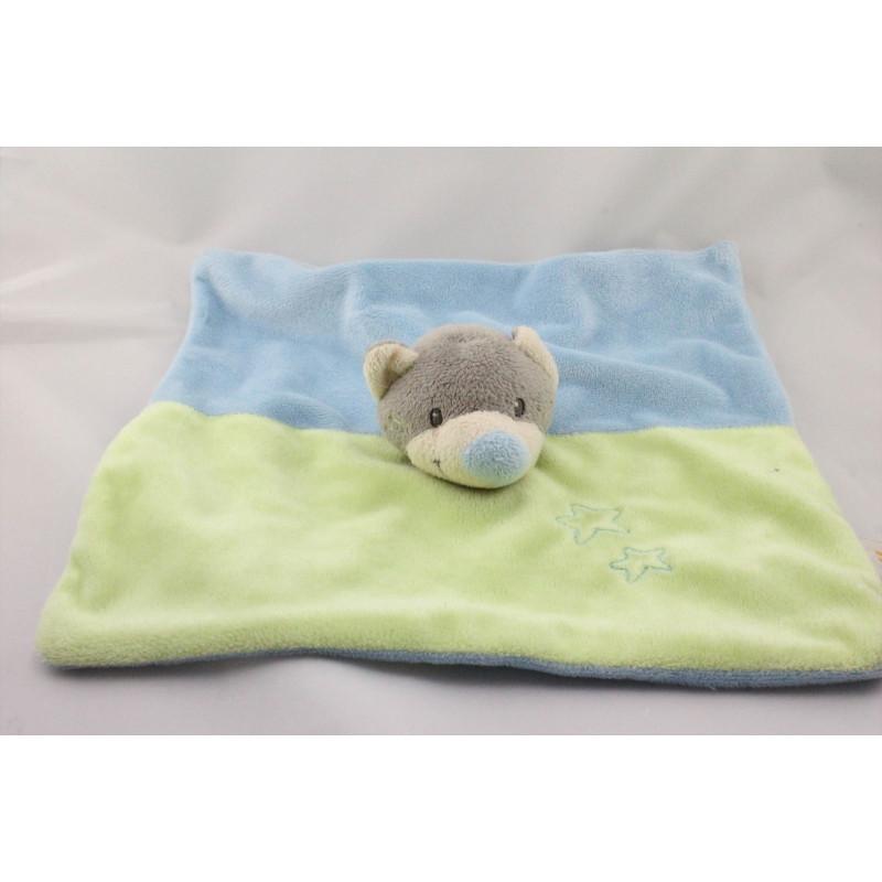 Doudou plat ours chat gris bleu vert étoiles DOUKIDOU