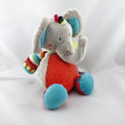 Doudou éléphant gris rouge bleu vert orange rayé TEX