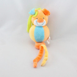 Doudou vibrant chien orange bleu vert jaune NATTOU