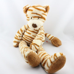 Doudou chat tigre marron écru rayé NICOTOY