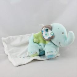 Doudou éléphant bleu vert gris mouchoir BERLINGOT