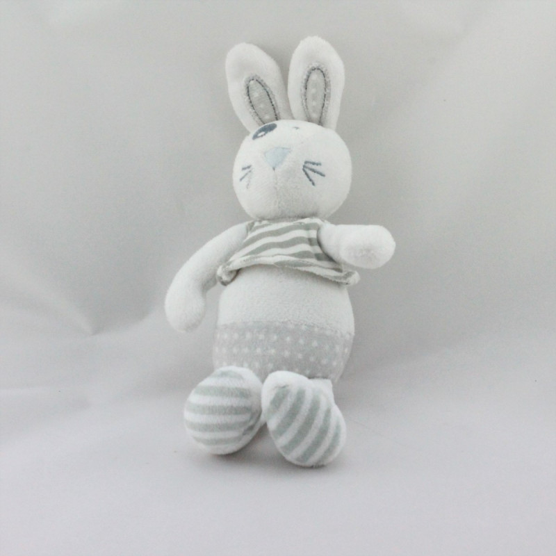 Doudou lapin blanc gris rayé pois TAPE A L'OEIL