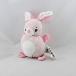 Doudou lapin rose blanc H ET M H.M