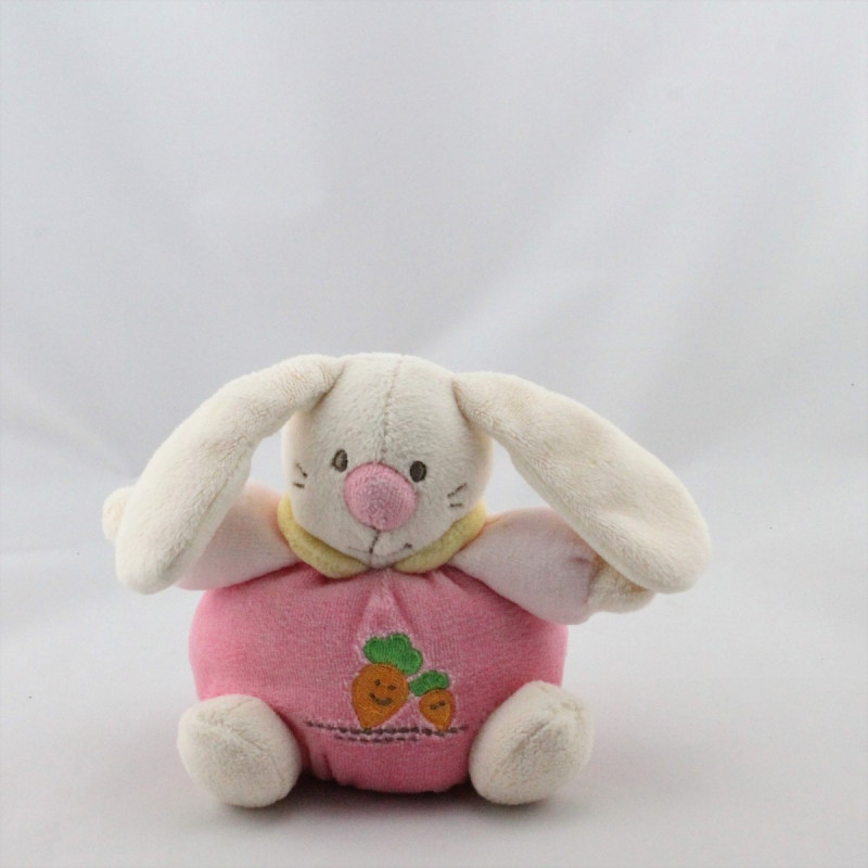 Doudou lapin rose jaune carottes MAXITA