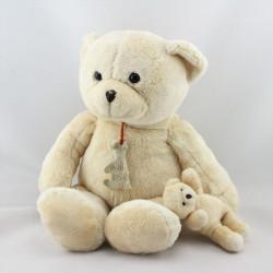 Doudou ours écru beige avec petit ours HISTOIRE D'OURS