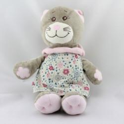 Doudou chat gris rose robe fleurs BENGY
