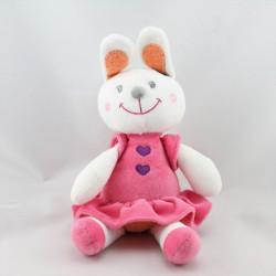 Doudou lapin blanc rose orange pois NICOTOY