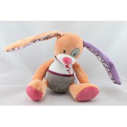 Doudou musical lapin orange rose blanc violet fleurs DOUKIDOU