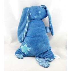 Doudou coussin lapin bleu rayé étoile LIEF
